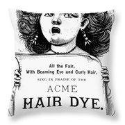Acme Hair Dye Ad, C1890 Throw Pillow