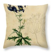Aconitum Napellus By Sowerby Throw Pillow by Philip Ralley