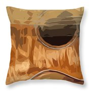 Acoustic Guitar Brown Background 2 Throw Pillow