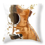 Acoustic Guitar Brown Background 4 Throw Pillow