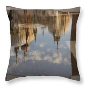 Acqua Alta Or High Water Reflects St Mark's Cathedral In Venice Throw Pillow