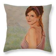 Acropolis  Misty Evening  Throw Pillow
