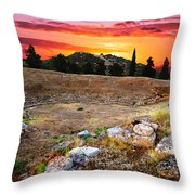 Acropolis Of Eretria  Throw Pillow