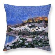 Acropolis Village And Beach Of Lindos Throw Pillow