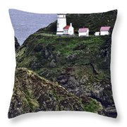 Across The Ocean Blue Throw Pillow