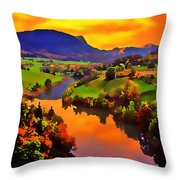 Across The Valley Throw Pillow by Stephen Anderson