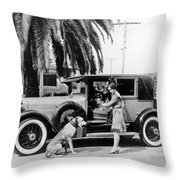 Actress And Dogs Go On Trip Throw Pillow
