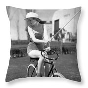 Actress Plays Bike Polo Throw Pillow