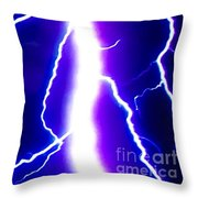 Actual Lightning In Zoom Image Throw Pillow