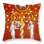 Adam And Eve 9th Century Representation Throw Pillow by Mary Evans