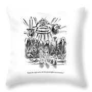 Adam And Eve Are Seen Walking In The Garden Throw Pillow