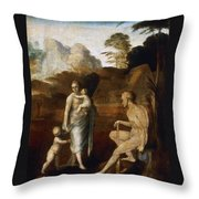 Adam And Eve With Cain And Abel Throw Pillow