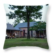 Log Cabins And House Throw Pillow