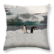 Adelie Penguins On Ice Throw Pillow