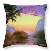 Adirondacks Sunset Throw Pillow