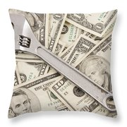 Adjustable Wrench On Pile Of Money Throw Pillow