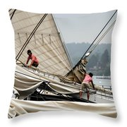 Adjusting The Sails Throw Pillow