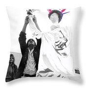 Adjusting  Torch Statue Of Liberty Statue July 4th Parade Tucson Arizona  Throw Pillow