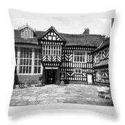 Adlington Hall Courtyard Bw Throw Pillow