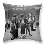 Admiring The Dog At Penn Station 1942 Throw Pillow