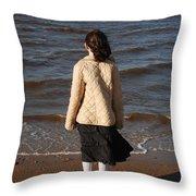 Admiring The Ocean Throw Pillow
