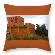 Adobe House And Poppies Throw Pillow