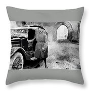 Adolf Hitler Shortly After His Release From Prison With A Mercedes 1924 - 2012 Throw Pillow