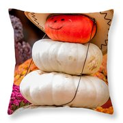 Adorable Cowboy Pumpkin Figures Made From Pumpkins Throw Pillow