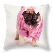 Adorable Pug Puppy In Pink Bow And Sweater Throw Pillow by Edward Fielding