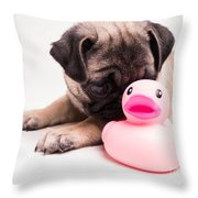 Adorable Pug Puppy With Pink Rubber Ducky Throw Pillow