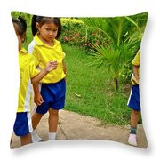 Adorable Sweethearts Welcoming Committee At Baan Konn Soong School In Sukhothai-thailand Throw Pillow