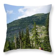 Adult Woman Hiking Through An Alpine Throw Pillow