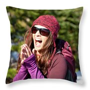 Adult Woman Laughing Out Loud While Throw Pillow
