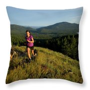 Adult Woman Trail Running Throw Pillow