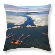 Adults Bathing In Hot Springs Throw Pillow