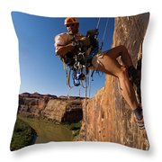Adventure Racer Rappelling Over A River Throw Pillow