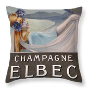 Advertisement For Champagne Delbeck Throw Pillow by Louis Chalon