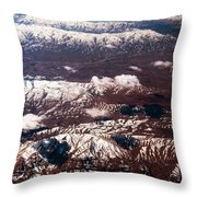 Aeial View Of The Snowy Mountains Throw Pillow