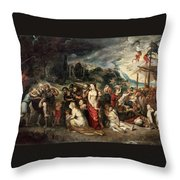 Aeneas And His Family Departing From Troy Throw Pillow