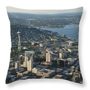Aerial Image Of The Seattle Skyline  Throw Pillow