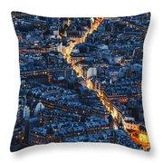 Aerial Night View Of Paris Throw Pillow
