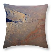 Aerial Of Meteor Crater Throw Pillow