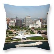 Aerial Of Milwaukee Skyline Throw Pillow