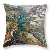 Aerial Of Rocky Mountains Over Montana State Throw Pillow