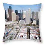 Aerial Of The Houston Skyline Throw Pillow