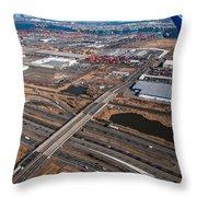 Aerial Over Newark Throw Pillow