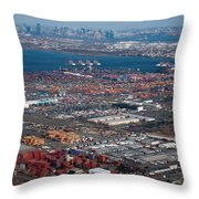 Aerial Over Newark And New Yourk Throw Pillow