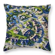 Aerial Pattern Of Residential Homes Throw Pillow