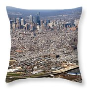 Aerial Philadelphia Throw Pillow