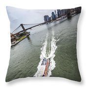 Aerial View - Red Tourist's Boat At East River Throw Pillow